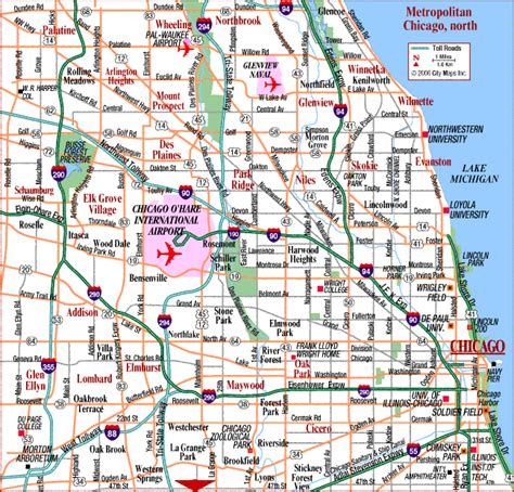 chicago metro map road map of chicago metro chicago illinois