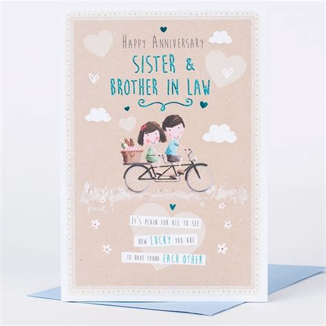 1st wedding anniversary gift for sister anniversary card sister brother in law tandem bike