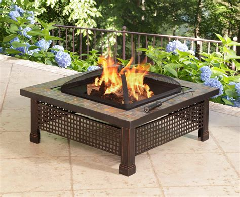 Amazon Com Pleasant Hearth Bradford Square Natural Slate Slate Firepit