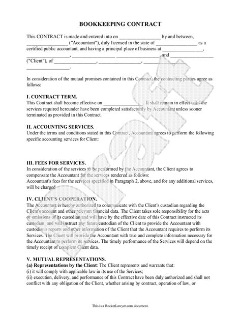Sle Bookkeeping Contract Form Template Bookkeeping Business Pinterest Template And Bookkeeping Agreement Template