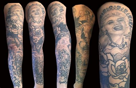 marilyn monroe sleeve by trevor kennedy tattoos