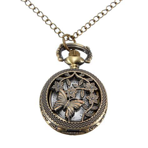Pocket Necklace vintage bronze butterfly style pocket pendant