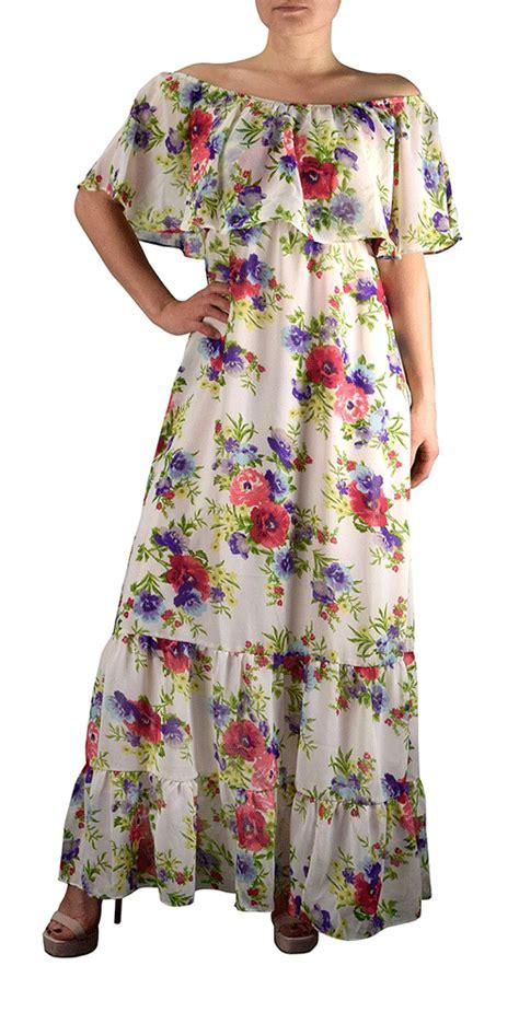 Vintage Flower Maxi Dress bohemian vintage floral white maxi dress