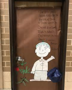 religious christmas door ideas judge says school can display brown poster with bible verse daily mail
