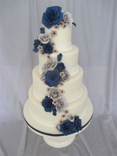 Wedding Cake Navy by Navy And Gray Wedding Cake Cakecentral