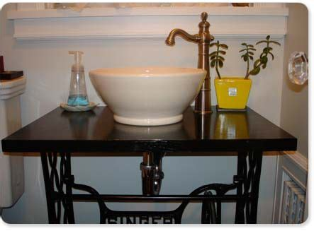 Bathroom Sink Faucet Keeps Turning Singer Table Turned Into A Sink Powder Room