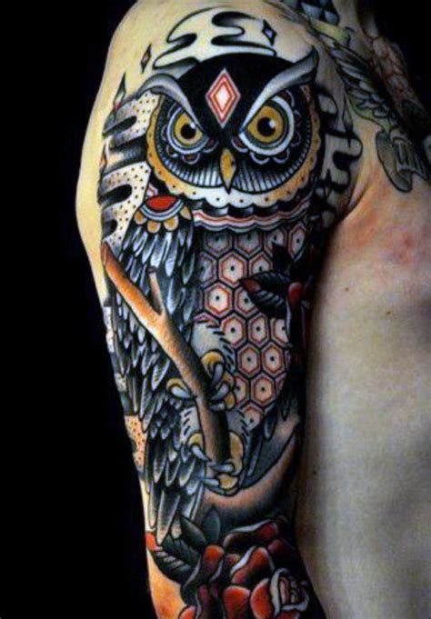 owl half sleeve tattoo 60 half sleeve tattoos for manly designs and