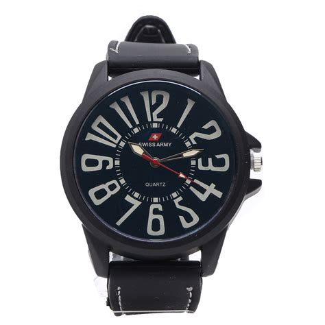 Jam Tangan Swiss Army Model Kotak swiss army jam tangan analog pria rubber hitam