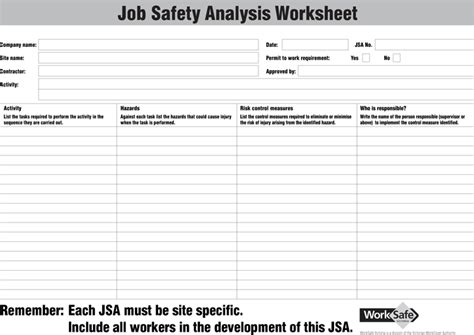 free jsa template safety analysis worksheet for free tidyform