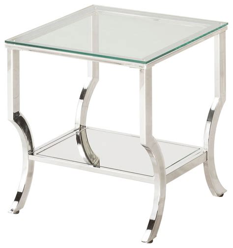 Contemporary Side Tables Living Room Accent Chrome Metal End Table With Glass Top Mirrored Shelf Contemporary Side
