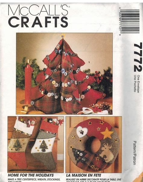 7772 Uncut Vintage Mccalls Sewing Pattern Christmas Decorations Tree Wreath Xmas Ebay Tree Sewing Template