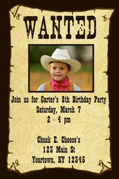 Wanted Poster Invitation Personalized Party Invites Wanted Birthday Invitation Template