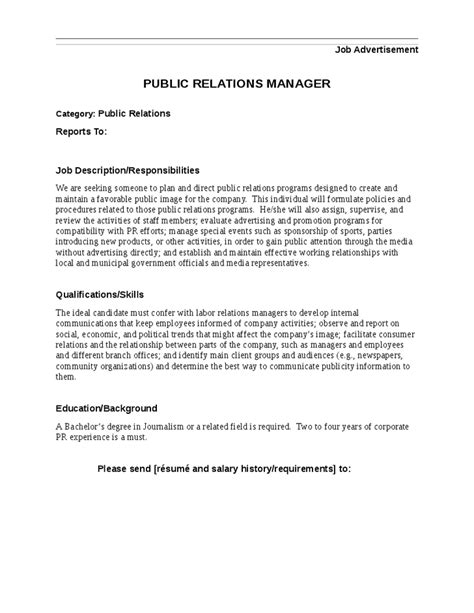 Pr Descriptions And Duties by Relations Manager Description Hashdoc