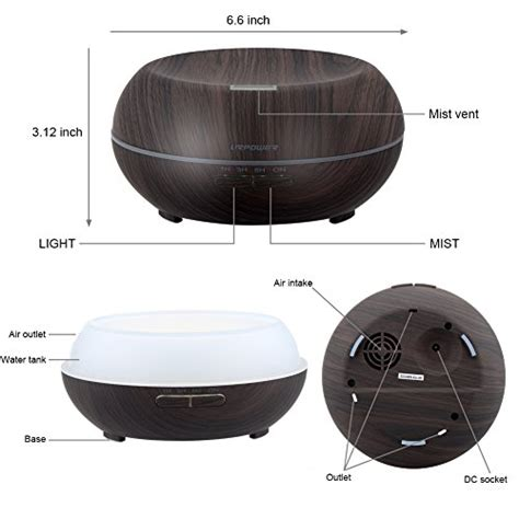 H16 Wooden Essential Aroma Humidifier 7 Color Led Light 400ml urpower essential diffuser 200ml wood grain aromatherapy import it all