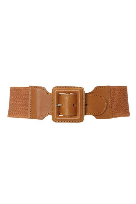 new womens kookai brown elasticated wide leather