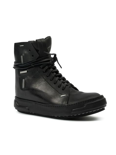 artselab leather high top sneakers in black for lyst