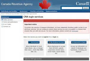 canada revenue agency services may be shut