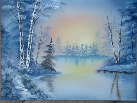 bob ross paintings snow bob ross painting lakes nature background wallpapers