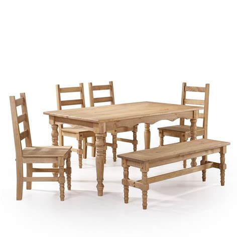 Dining Table With Bench And 4 Chairs Manhattan Comfort 6 Nature Solid Wood Dining Set With 1 Bench 4 Chairs And 1 Table