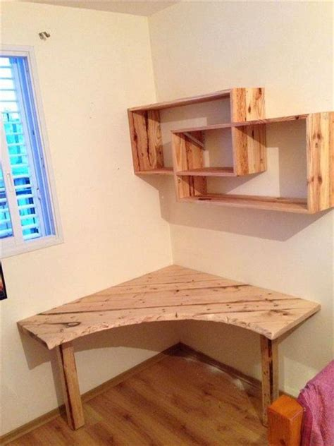 corner table ideas diy pallet desk with art style shelves 101 pallet