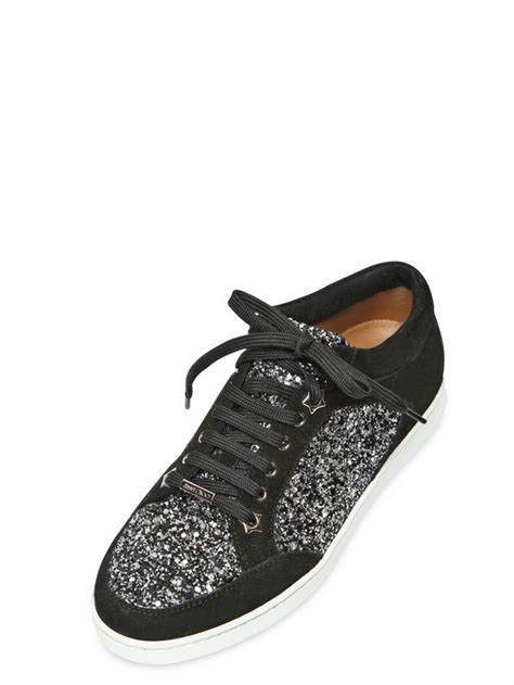 s jimmy choo sneakers lyst jimmy choo 20mm miami coarse glitter suede sneakers