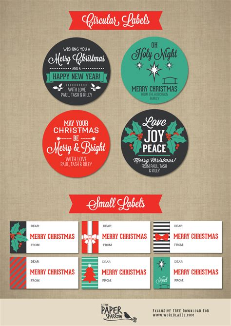 merry christmas labels   paper sparrow  printable labels templates label design