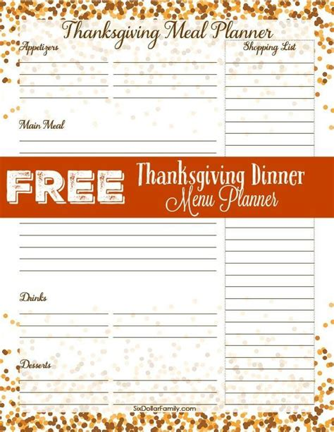 printable thanksgiving meal planner 166 best images about family stuff on pinterest cars