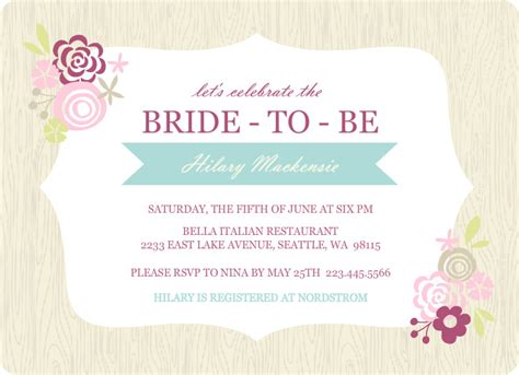 Wedding Shower Invitation Templates bridal shower invitations etiquette template best