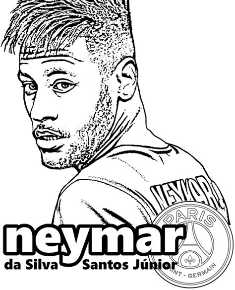 Neymar PSG and Brasil striker, player coloring page, pages
