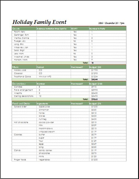 holiday family event checklist for excel document hub