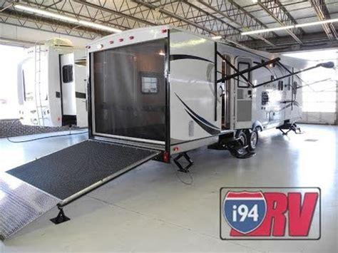 travel trailer with garage 2014 sporttrek 300vth toy hauler travel trailer venture rv