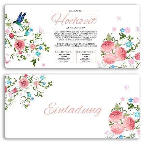 Hochzeitseinladung Blumen by Hochzeitseinladungen Mit Blumenmotiv Ab 55 Cent