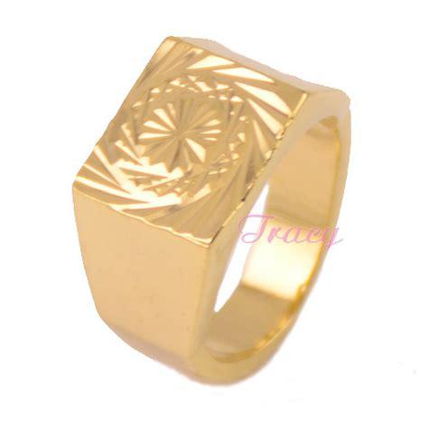12mm mens boys 18k yellow gold filled finger rings cool