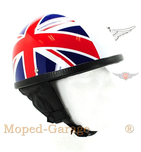Motorradhelm Union Jack by Moped Garage Net Oldtimer Halbschalen Helm 50er Moped