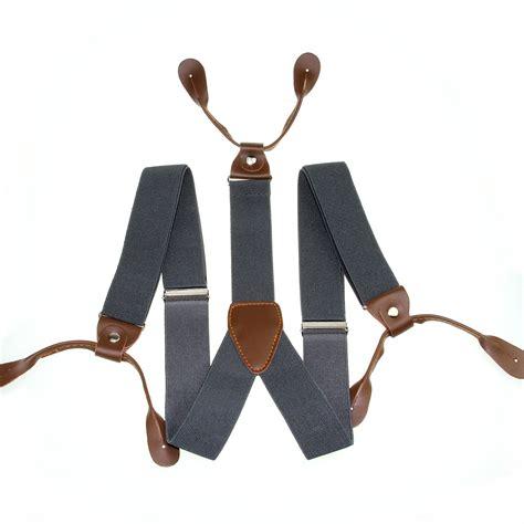 Suspender Dewasa 3cm 3 5cm width mens suspenders braces solid adjustable 6 button leather bd7h