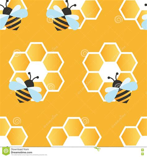 honey pattern vector bee with honey seamless pattern stock vector image