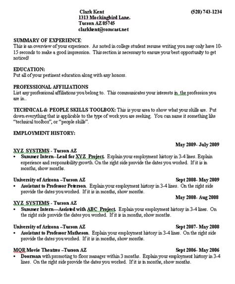 Resume Templates For College Students With No Work Experience by Resumes For College Students Learnhowtoloseweight Net