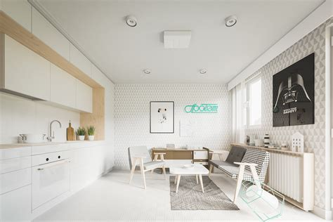 white apartment small home designs under 50 square meters