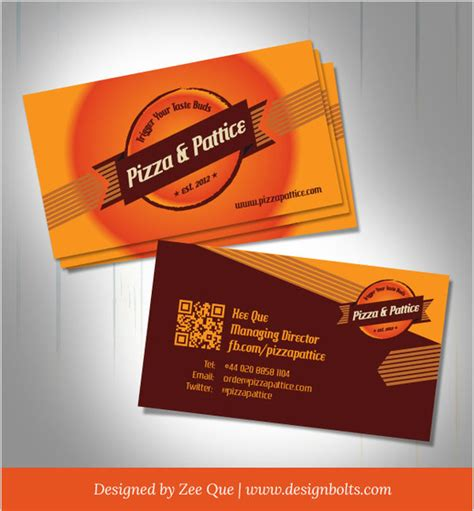 pizza business card template free vector pizza pattice business card design template