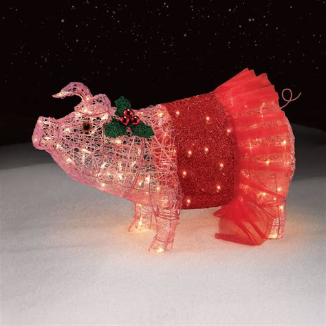 lighted pig lawn ornament christmas 32 quot pig with tutu lights pretty in pink holidays at kmart