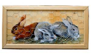 peinture sur bois trois lapins paille grillage et