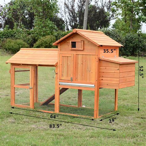 backyard run pawhut deluxe backyard chicken coop w outdoor run