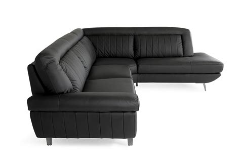 divani casa galway modern black leather sectional sofa