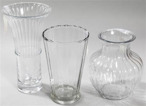 Assorted Glass Vases by Three Assorted Clear Glass Vases In Various Sizes One With