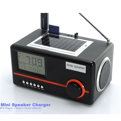 Mp3 Alarm Clock 1 6 by 3 In 1 Solar Mini Speaker Charger Mp3 Player Alarm Clock With Usb Port Sd Card Slot