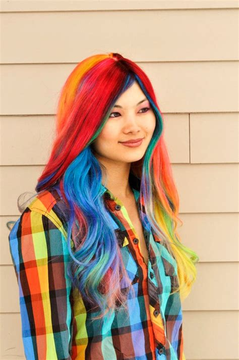 asian with colored rainbow hair color strayhair