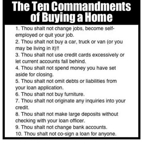 tips in buying a house the 10 commandments of buying a home loan options and