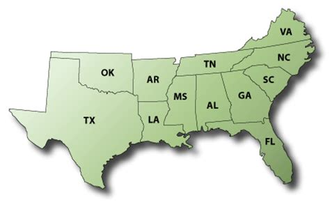 south us region map southern buildings