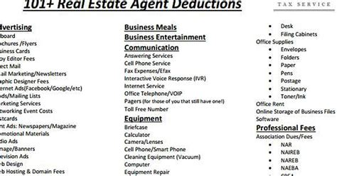 sheet of 100 tax deductions for real estate