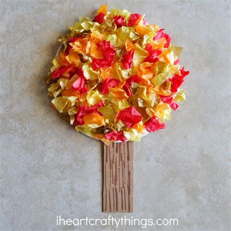Tissue Paper Tree Craft - tissue paper fall tree craft i crafty things